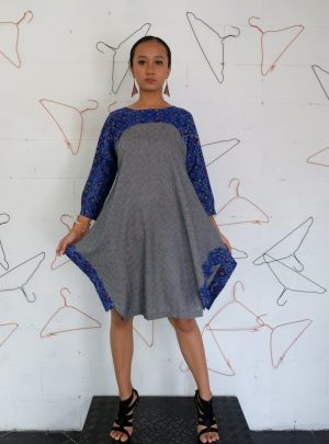 Dress Endek Blue and Grey