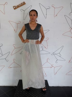 Long Dress White and Grey