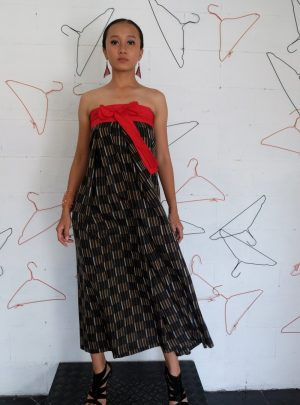 Sarong Dress Strip Black red