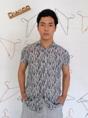 Short Shirt Abstrack motif Grey